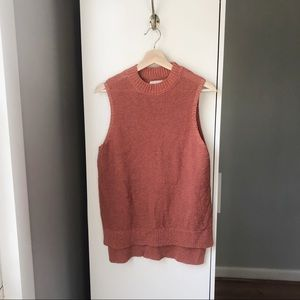 Lou & Grey rust orange linen knit mock neck tank